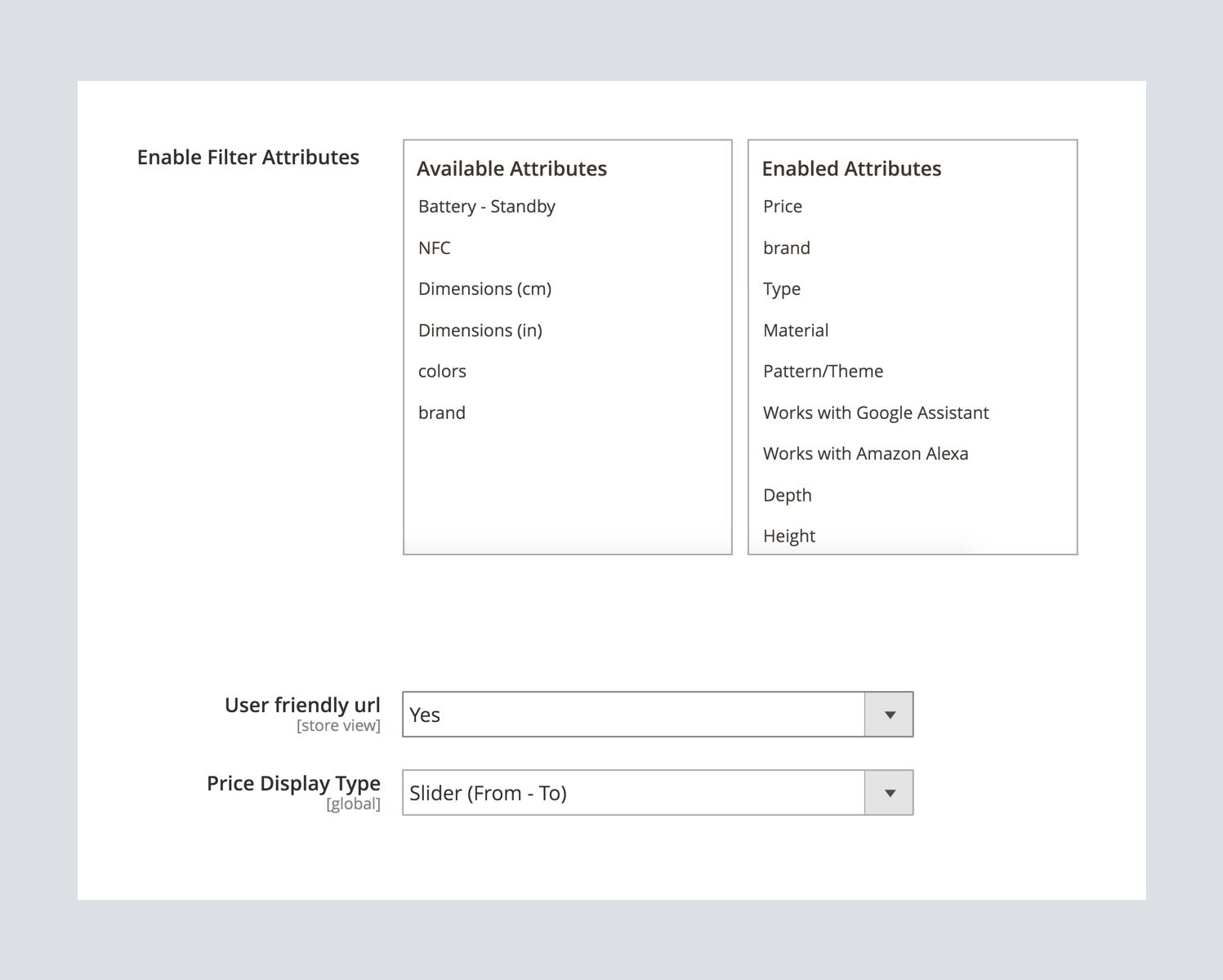 Magento 2 filter configuration